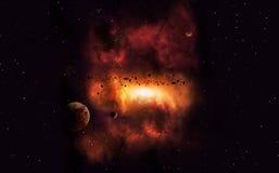 Distant Imaginary Nebula Stock Images