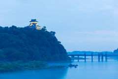 Distant Inuyama Castle Blue Hour Evening River H Royalty Free Stock Photography
