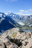 Distant Lake Hooker and Mount Cook Royalty Free Stock Photography