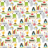 Distant learning seamless pattern background online education video tutorials staff training store learning research Stock Photography