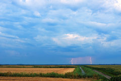 Distant lightning strikes over field Stock Photography