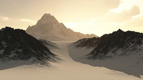 Distant Lonely Mountain Peak. At sunset viewed through a narrow pass in the snow, 3d digitally rendered illustration Royalty Free Stock Photos