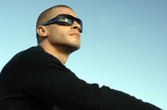 Distant man. Young man with black glasses Royalty Free Stock Images