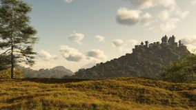 Distant Medieval Castle. Distant Medieval or fantasy castle on a wooded hill, 3d digitally rendered illustration Royalty Free Stock Image