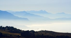Distant Mountain And Sea Stock Photo