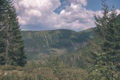 Distant mountain cores in slovakia Tatra mountain trails - vintage retro film look. Distant mountain cores in mist in slovakia Tatra mountain trails in clear aun stock photos