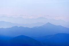 Distant mountain silhouettes Royalty Free Stock Photography