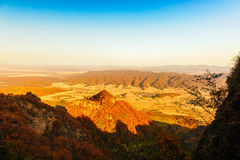 The distant mountains in autumn Stock Photography