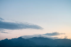 Distant mountains at dusk Royalty Free Stock Image