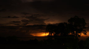 Distant night  thunderstorm over the Siem Reap Royalty Free Stock Images