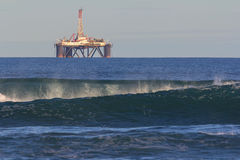 Distant oil refinery rig Stock Photo