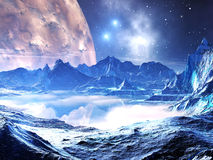 Distant Planet in the Grip of Winter. Alien landscape covered with ice and snow. An enormous crater moon and stars are in orbit above vector illustration
