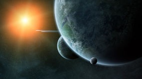 Distant planet system in space 3D rendering Stock Photos