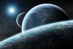 Distant planet system in space 3D rendering. Elements of this image furnished by NASA vector illustration