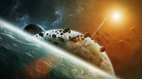 Distant planet system in space 3D rendering. Elements of this image furnished by NASA stock illustration