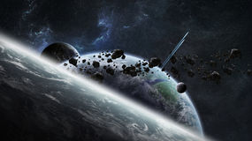 Distant planet system in space 3D rendering. Elements of this image furnished by NASA royalty free illustration