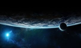 Distant planet system in space with exoplanets 3D rendering elem. Distant planet system in space with exoplanets during sunrise 3D rendering elements of this Stock Photography