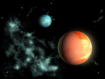 Distant planets. Two planets from outer space. Digital illustration stock illustration