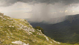 Distant Rain Storm  Royalty Free Stock Photo