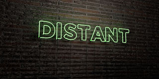 DISTANT -Realistic Neon Sign on Brick Wall background - 3D rendered royalty free stock image Stock Photos