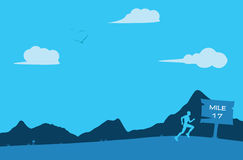 Distant Runner Running Terrain Miles Background Illustration Stock Images