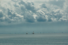 Distant sailboats on lake Royalty Free Stock Photography