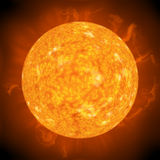 Distant sun. Solar flares and hot surface of the sun Royalty Free Stock Photo