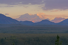 Distant Sunset of Denali Royalty Free Stock Photography