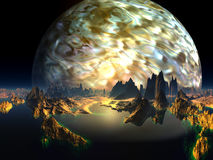 Distant View of Alien Ocean Reef with Gas Giant Stock Photo