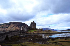 Distant view of the ancient castle in Scotland Royalty Free Stock Image