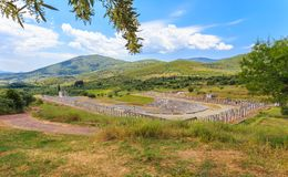 Distant view on antique stadium in Ancient Messina Stock Images