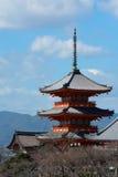 Distant view of Buddhist pagoda at Kiyomizu-dera in Kyoto, Japan Stock Photos