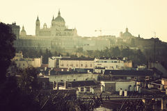 Distant view of Cathedral in Madrid Royalty Free Stock Image
