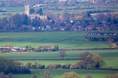 Distant view of Church of St Mary Steeple Ashton Stock Photo