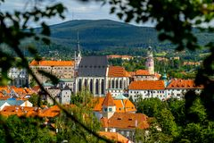 Distant View of the Church of St. Vitus and Castle in Cesky Krumlov stock photography