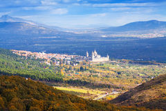 Distant view of    El Escorial in autumn day Stock Images
