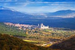 Distant view of  El Escorial in autumn Stock Photo