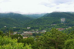 Gatlinburg during summer with mist on the Smokies Royalty Free Stock Image