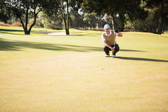 Distant view of golfer crouching and looking his ball. On field Stock Images
