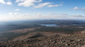 Distant View on Lake Luirojarvi in Taiga Forest Royalty Free Stock Photography