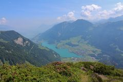 Distant view of lake Lungernsee Royalty Free Stock Images