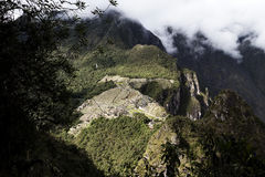 Distant View Of Machu Picchu Inca Ruins From Huayna Picchu Stock Image