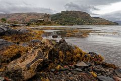 Distant view od Eilean Donnan castle royalty free stock photo