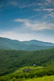 Distant View of the Overmountain Shelter Stock Photo