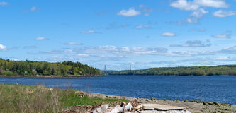Distant view of the Penobscot Narrows Bridge. A distant view of the Penobscot Narrows Bridge from Sandy Beach in Stockton Springs, Maine Stock Image