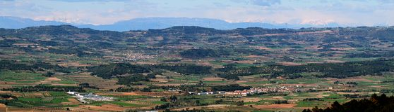 Distant view of pyrenees and windmills Stock Photography