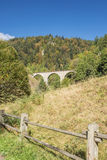 Distant view of a railway bridge. Spanning over the Ravenna gorge in the Black Forest Stock Photography
