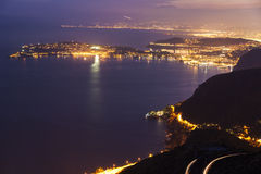 Distant view of Saint Jean Cap Ferrat and Nice at sunset Stock Images