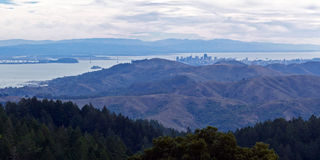 Distant view of San Francisco. Panorama view of San Francisco in the hazy, blue distance. Taken from a top in Mt. Tamalpais State Park stock photos