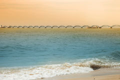 Distant view of the  sea bridge in morning Stock Photo